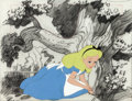 Animation Art:Production Cel, Alice in Wonderland Production Cel and Background Drawing(Walt Disney, 1951)....