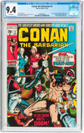 Bronze Age (1970-1979):Adventure, Conan the Barbarian #2 (Marvel, 1970) CGC NM 9.4 White pages....