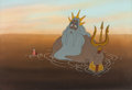 Animation Art:Production Cel, The Little Mermaid King Triton and Sebastian Production Cel Setup and Key Master Background (Walt Disney, 1989). ...