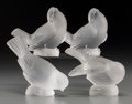 Art Glass:Lalique, Four Lalique Frosted Glass Birds, post-1945. Marks: Lalique, France. 3-7/8 inches high (9.8 cm) (tallest). ... (Total: 4 Items)