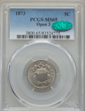 Shield Nickels, 1873 5C Open 3 MS65 PCGS. CAC....