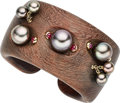 Estate Jewelry:Bracelets, South Sea Cultured Pearl, Ruby, Wood, Gold Bracelet . ...