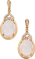 Estate Jewelry:Earrings, Rose Quartz, Topaz, Rose Gold Earrings. ...