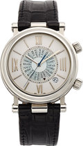 Estate Jewelry:Watches, Van Cleef & Arpels Gentleman's Stainless Steel Automatic WorldTime Watch with Alarm. ...