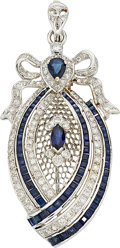 Estate Jewelry:Pendants and Lockets, Diamond, Sapphire, White Gold Pendant-Brooch. ...