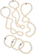 Estate Jewelry:Suites, Cultured Pearl, Diamond, White Gold Jewelry . ... (Total: 6 Items)