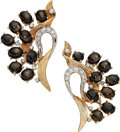 Estate Jewelry:Earrings, Black Sapphire, Diamond, Platinum, Gold Earrings, Ruser. ...