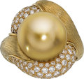 Estate Jewelry:Rings, South Sea Cultured Pearl, Diamond, Gold Ring, Henry Dunay. ...