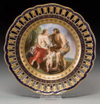 A Fine Meissen Partial Gilt Porcelain Allegorical Plate with Ribbon Border, after Peter Paul Rubens, 19th century