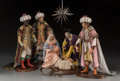 Decorative Arts, Continental:Other , Six Italian Neapolitan-Style Cartapesta Crèche Nativity Figures,20th century. 17-1/4 inches high (43.8 cm) (tallest, figure...(Total: 7 Items)