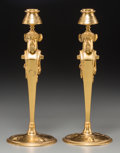 Decorative Arts, French:Lamps & Lighting, A Pair of Charles X Gilt Bronze Caryatid Candlesticks, 19thcentury. 12-1/2 inches high (31.8 cm). PROPERTY OF A LADY OF T...(Total: 2 Items)