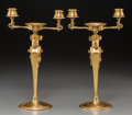 Decorative Arts, French:Lamps & Lighting, A Pair of Charles X Gilt Bronze Two-Light Caryatid Candelabra, 19thcentury. 13-5/8 inches high (34.6 cm). PROPERTY OF A L... (Total: 2Items)