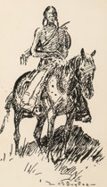 Fine Art - Work on Paper:Drawing, Harold Dow Bugbee (American, 1900-1963). Rider andWeaver (two works). Ink on paper, each. 8-1/2 x 6 inches(21.6 x ... (Total: 2 Items)