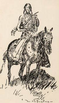 Harold Dow Bugbee (American, 1900-1963) Rider and Weaver (two works) Ink on paper, each