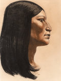 Works on Paper, Maynard Dixon (American, 1875-1946). Portrait of a Native American, 1940. Pastel on paper. 14 x 10 inches (35.6 x 25.4 c...