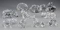 Art Glass:Other , Ten Baccarat and Lalique Glass Animals, 20th century. Marks:Lalique, France; BACCARAT, (logotype), FRANCE. 3-3/4in... (Total: 10 Items)