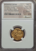 Ancients:Byzantine, Ancients: Constans II, Constantine IV, Heraclius & Tiberius(659-668). AV solidus (4.42 gm). NGC MS 4/5 - 4/5, clipped....