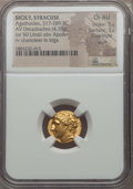 Ancients:Greek, Ancients: SICILY. Syracuse. Agathocles (317-289 BC). AV hemistater or decadrachm (4.28 gm). NGC Choice AU 5/5 - 3/5, Fine Style, scuff....