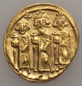 Ancients:Byzantine, Ancients: Heraclius (AD 610-641), with Heraclius Constantine andHeraclonas as Caesar. AV solidus (4.42 gm). About VF, graffito....