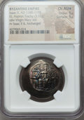 Ancients:Byzantine, Ancients: Isaac II Angelus, first reign (1185-1195). EL aspron trachy (3.91 gm). NGC Choice AU ★ 5/5 - 5/5....