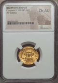 Ancients:Byzantine, Ancients: Constans II (641-668). AV solidus. NGC Choice AU....