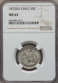 Chile, Chile: Republic 20 Centavos 1872-So MS63 NGC,...