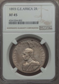 German East Africa, German East Africa: German Colony. Wilhelm II 2 Rupien 1893 XF45 NGC,...