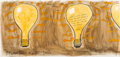 Fine Art - Work on Paper, Donald Roller Wilson (American, b. 1938). 100 Watt Bulb,2006. Watercolor, pencil, and ink on paper. 14-1/2 x 30-3/4 inc...