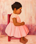 Fine Art - Painting, American, Gustavo Montoya (Mexican, 1905-2003). Girl in a Pink Dress.Oil on canvas. 21-3/4 x 18 inches (55.2 x 45.7 cm). Signed l...