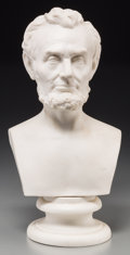 American, A Martin Milmore Parian Bust of Abraham Lincoln, probably Englishafter the artist's design, 19th century. Marks: M. MILM...