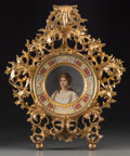 19th Century European, A Rudolstadt Painted Porcelain Plate in Giltwood Frame: QueenLouise of Prussia, circa 1900. Marks to portrait: Wa...