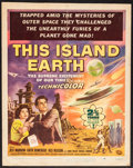 "Movie Posters:Science Fiction, This Island Earth (Universal International, 1955). TrimmedAutographed Window Card (14"" X 17.5""). Science Fiction.. ..."