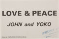 "Music Memorabilia:Memorabilia, John Lennon and Yoko Ono ""Love and Peace"" Flyer (1969).. ..."