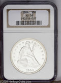 Seated Dollars: , 1844 $1 AU58 NGC. One of just 20,000 Silver Dollars produced in1844, this nearly Uncirculate...