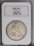 Seated Dollars: , 1850 $1 AU50 NGC. Golden-gray toning. The devices have a textureintermediate between satiny ...