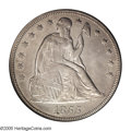 Seated Dollars: , 1855 $1 AU58 PCGS. Even though 26,000 pieces were produced of thisissue, it is seldom locate...