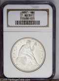 Seated Dollars: , 1857 $1 AU 55 NGC. Some peripheral weakness is noted in the starcenters and in Liberty's hai...
