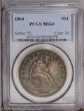 Seated Dollars: , 1864 $1 MS60 PCGS. This intricately struck representative offersdeep chestnut, sea-green, an...