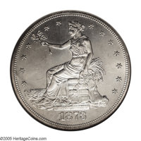 1873 T$1 MS64 NGC. Full stars and device detail on Liberty and her eagle confirm a decent strike on this first year of i...