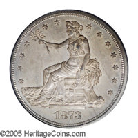 1873-CC T$1 MS62 PCGS. A very tough coin to find in uncirculated grades as most of the mintage went straight to the Orie...