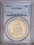Trade Dollars: , 1873-S T$1 MS62 PCGS. Softly struck on Liberty's head and on the eagle's right (facing) claw, but reasonably well detailed ...
