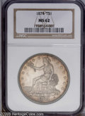 Trade Dollars: , 1874 T$1 MS62 NGC. Golden-brown toning is strongest at the borders, and gradually cedes to cream-gray centers. This typical...