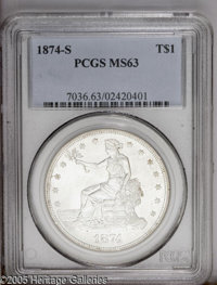 1874-S T$1 MS63 PCGS. Type One Obverse and Reverse. Large S. Satiny steel-gray surfaces display pleasing luster and touc...