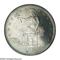 1875 T$1 MS64 PCGS. Type One obverse, Type Two Reverse. The brilliant, essentially untoned surfaces reveal a pronounced...