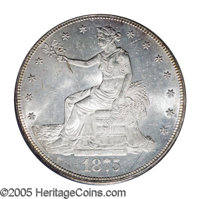 1875-CC T$1 MS63 PCGS. Type One Reverse. This coin is bright and lustrous, with abundant frost on Liberty and the eagle...