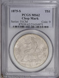 Trade Dollars: , 1875-S T$1 Chop Mark MS62 PCGS. Type One Reverse. Large S. A single ornate chopmark affects the D in UNITED. Deep dove-gray...