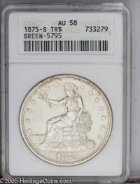 1875-S T$1 AU58 ANACS Breen-5795. Type One Obverse, Type Two Reverse. Micro S mintmark, which according to Breen (1988)...