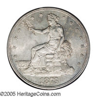 1875-S/CC T$1 MS62 PCGS. FS-012.5. A rare and desirable coin in all grades, and this uncirculated example has lustrous f...