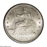 1876 T$1 MS64 PCGS. Type One/Type Two. Bright and frosty for this issue, quite unlike the other reflective and prooflike...