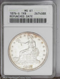 1876-S T$1 MS61 ANACS. Repunched Date. Type One Obverse, Type Two Reverse. Micro S. The 6 and the 8 of the date exhibit...